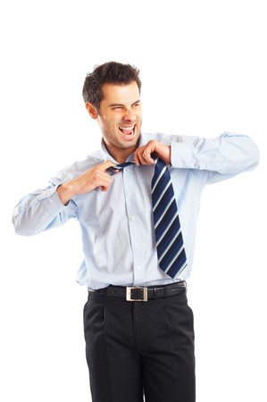 Portrait of a stressed businessman isolated on a white background photo