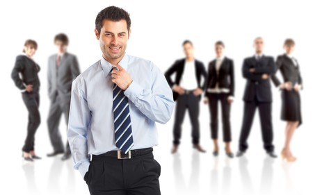 Leader and his team - Young attractive business people  photo