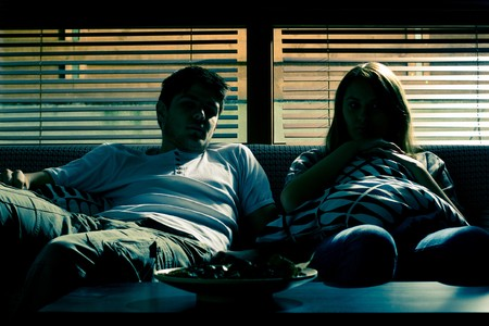 without people: Couple on the sofa without electricity Stock Photo