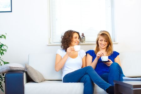 Casual friends on the couch Stock Photo