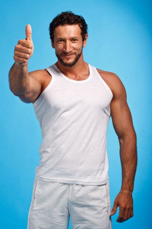 fitness instructor: Fitness Instructer over blue background