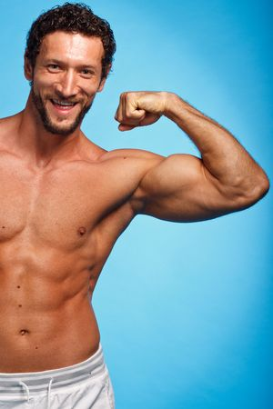 Fitness Instructer over blue background