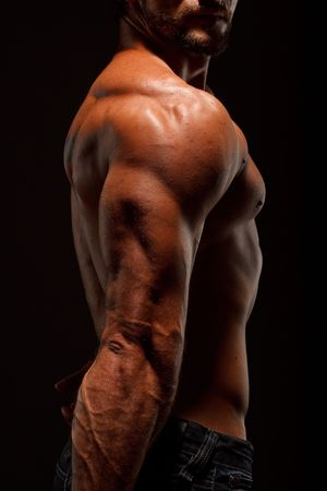 sculpted: Dramatic image of a beautifully sculpted bodybuilder