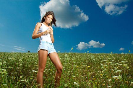 Beautiful girl in meadow Stock Photo - 5320267