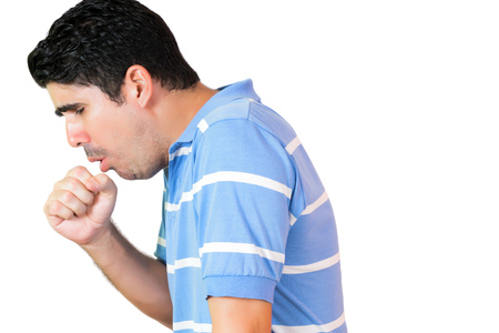 Hispanic man have a coughing fit isolated on white Stock Photo