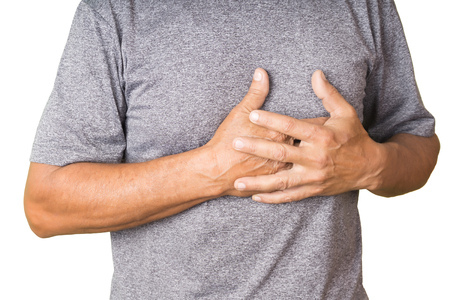 Middle age man with a heartattack  isolated on white