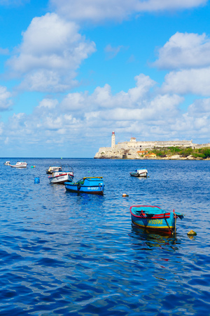 HAVANA,CUBA-NOVEMBER 10,2017 : Fishing botes at the entrance of the Havana Bay.