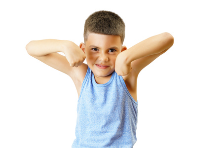 Small kid raise his arms isolated on white. Standard-Bild