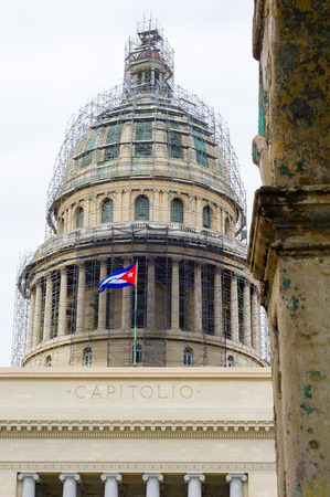 Close-up of the caplitol dome in old havana. Stock Photo