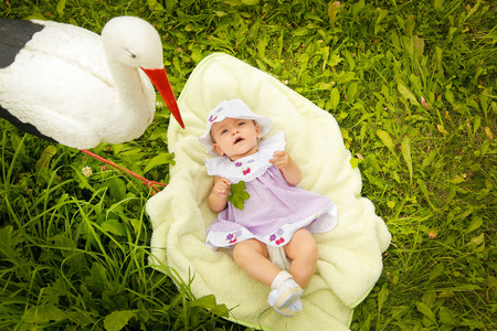 The child lies on a blanket in the garden near the stork