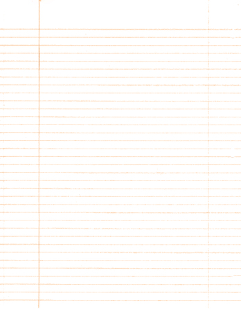 A white sheet from a notebook with an orange stripe .Texture or background.
