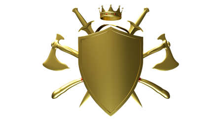 The coat of arms of a medieval knight shield and sword isolated on a white background