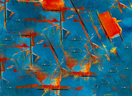 Red and blue abstract composition on canvas .Texture or background