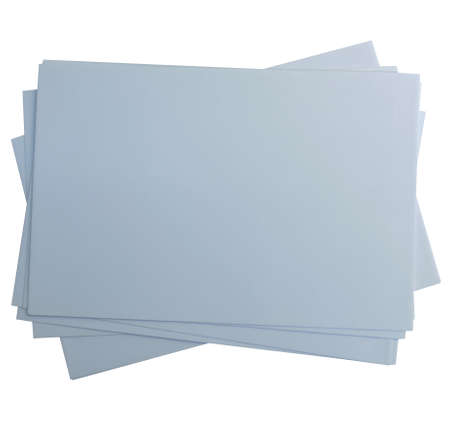 A stack of sheets of gray paper isolated on a white background.Texture or background