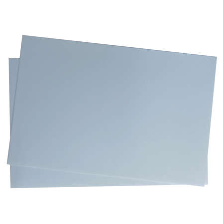 Two sheets of grey paper on a white background.Texture or background