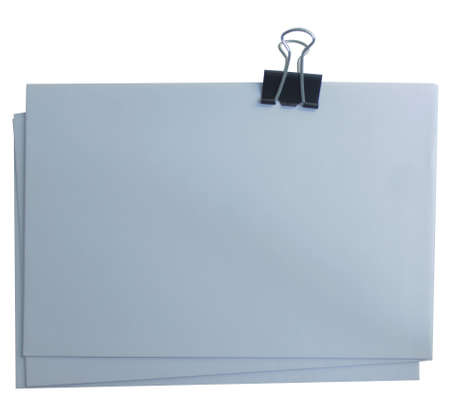 Three isolated sheets of grey paper are fixed on a white background.Texture or background Banco de Imagens