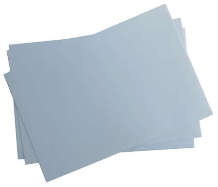 Three sheets of grey paper isolated on a white background.Texture or background Banco de Imagens