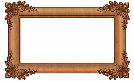 Vintage wooden photo frame on white background.Texture or background