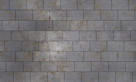 Tiles for the kitchen and bathroom with a metal texture imitation of a brick wall Banco de Imagens