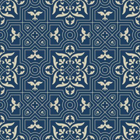 Oriental beautiful pattern on blue background close up
