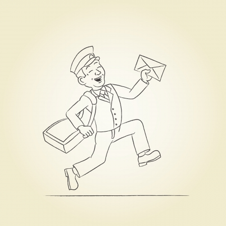 occupation cartoon: A postman with a bag and a letter  Sketch illustration  Illustration