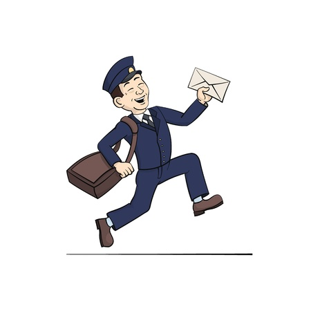 postman: Funny Postman with Letter