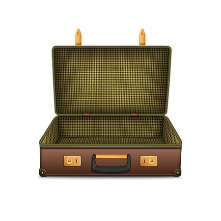 Empty retro suitcase, isolated on white  Vector illustration Vector