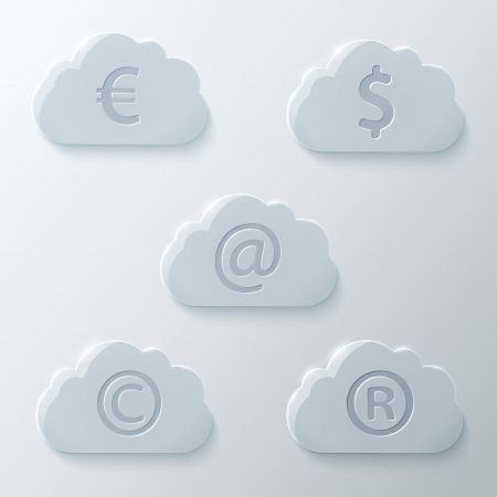 Glass Clouds Icons Set.  Vector