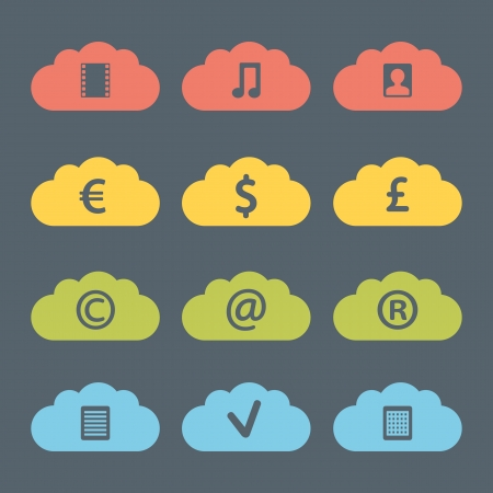 Flat Clouds Icon Set.  Vector