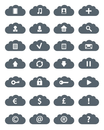 Simple Flat Clouds Icon Set. Isolated Ob White  Vector