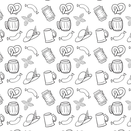 german sausage: Black and White Octoberfest Seamless Background.