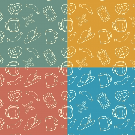 Colorful Octoberfest Seamless Background.  Vector