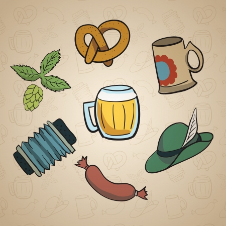 Octoberfest Cartoon Elements.  Vector