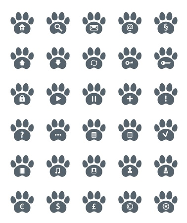 Traces of Cat Icons Set. Vector