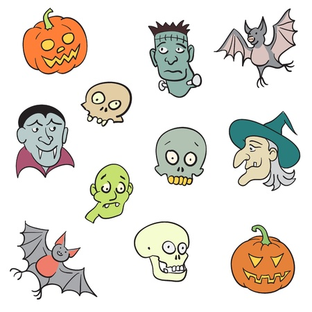 Colorful Halloween Characters Set.  Vector