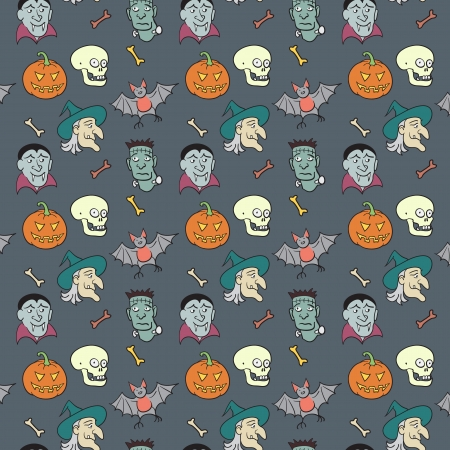 Colorful Textile Halloween Fun Pattern.  Vector