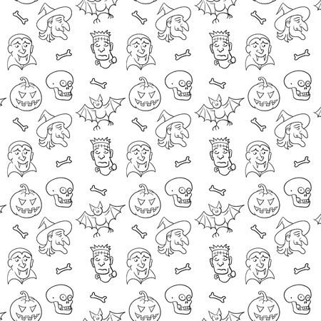 Black and White Textile  Halloween Fun Pattern.  Vector