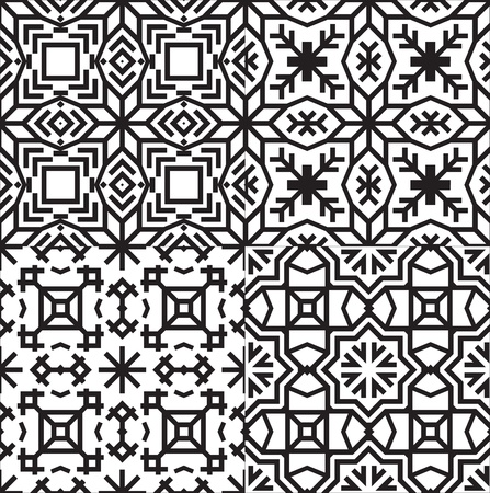 Black and White Textile Patterns Set.   イラスト・ベクター素材