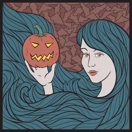 Vampire Girl With a Pumpkin. Colorful Halloween Vector Illustration. Vector