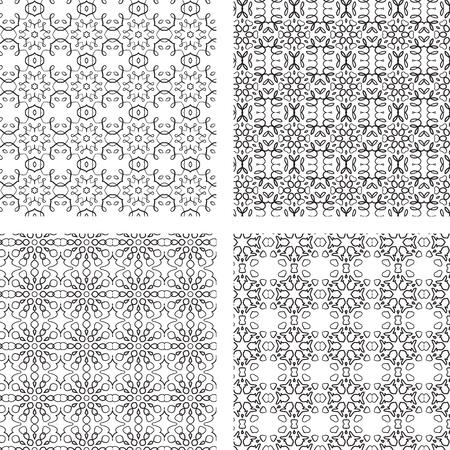 Circular Ornaments Pattern Set. Black and White Vector Seamless. Illustration