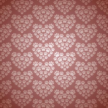 猫の痕跡の心。ベクトル パターン。  イラスト・ベクター素材
