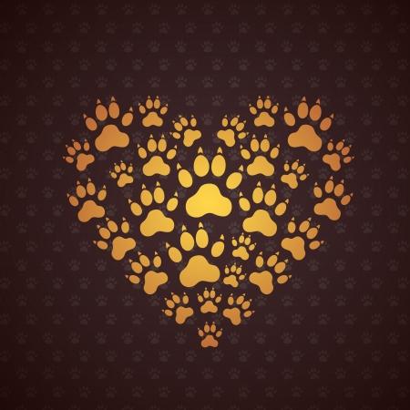 patas de perros: Corazón de las huellas del perro. Antecedentes Vector.