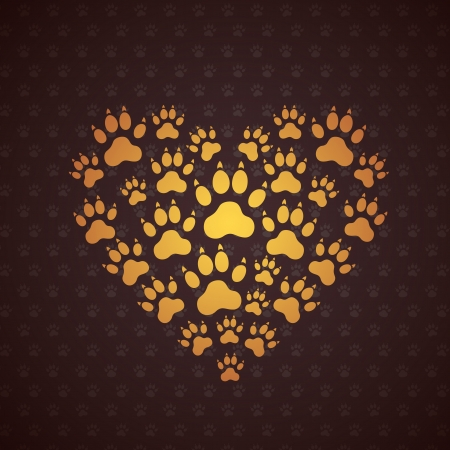 paw: Heart of The Dog Traces. Vector Background.