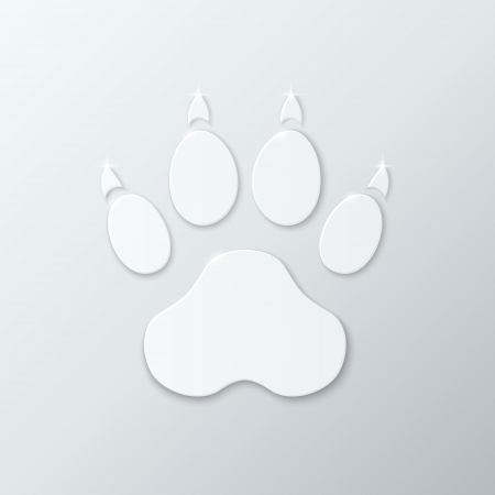 Shiny Plastic Trace of Dog. Vector Icon. Vector