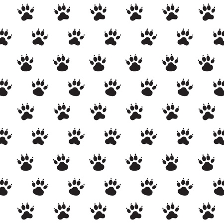 animal foot: Traces of Dog. Black and White Vector Pattern. Illustration