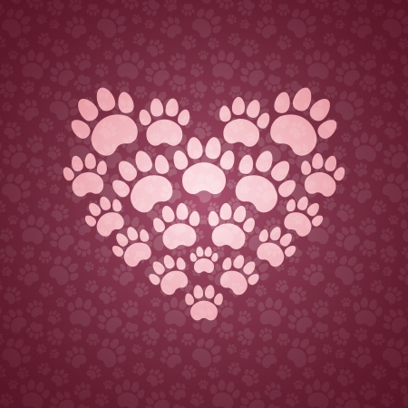 Heart of The Cat Traces. Vector Background.