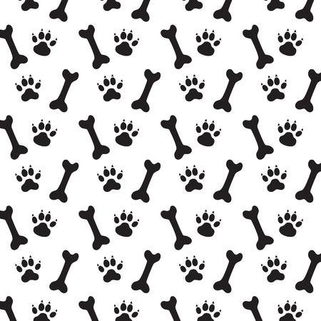 犬と骨の痕跡。黒と白のベクトル パターン。