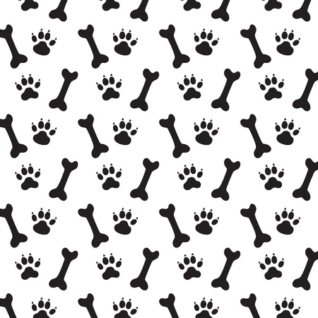 voetstap: Sporen van Dog and Bones. Zwart-wit Vector Pattern. Stock Illustratie