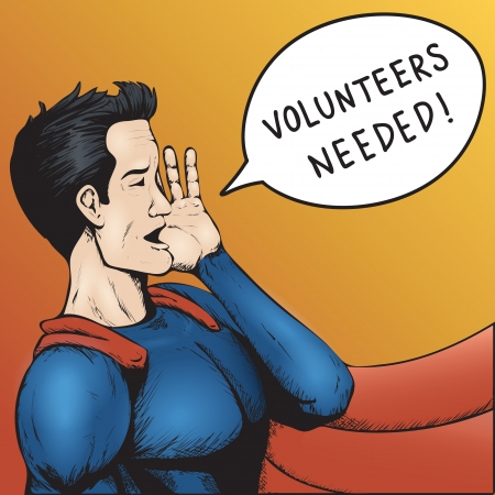 ボランティア募集!スーパー ヒーローの助けが必要 !カラフルな漫画のベクトルのイラスト。