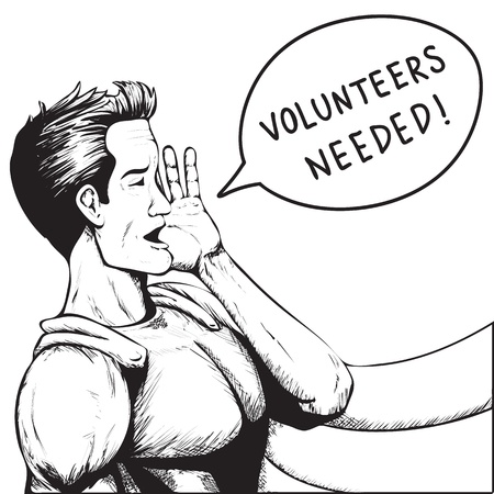 Volunteers Wanted! Superhero Need Help! Black and White Cartoon Vector Illustration. 向量圖像